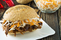 Pulled pork barbecue sandwich with cole slaw Stock Photography