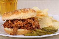 Pulled Pork BBQ Sandwich Stock Photo