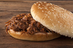 Pulled pork in  a bun tilted top Stock Photo