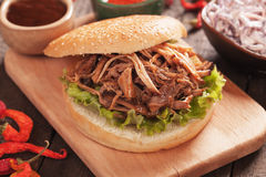 Pulled pork burger. American pulled pork burger sandwich with lettuce and various dips Royalty Free Stock Photo