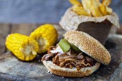 Pulled pork burger Royalty Free Stock Image