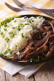 Pulled pork with coleslaw close-up on a plate. vertical Royalty Free Stock Photos