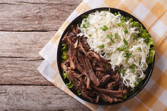 Pulled pork with coleslaw on the table. horizontal top view Stock Images