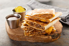 Pulled pork quesadillas Stock Images
