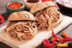 Pulled pork sandwich. American pulled pork sandwich in wholegrain burger bun Stock Photo