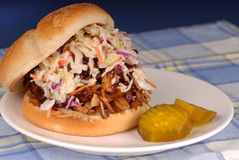 Pulled pork sandwich & cole Stock Photography