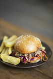 Pulled pork sandwich and fries Royalty Free Stock Photo