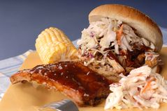 Pulled pork sandwich, ribs stock photography