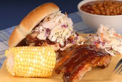 Pulled pork sandwich & ribs stock photography