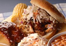 Pulled pork sandwich with ribs Royalty Free Stock Photos