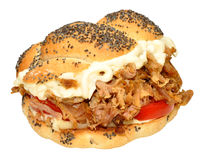 Pulled Pork Sandwich Roll Royalty Free Stock Images