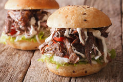 Pulled pork sandwich with vegetables and sauce close-up. horizon Royalty Free Stock Photo