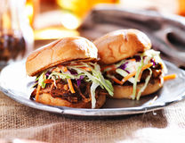 Pulled pork sandwiches with bbq sauce and slaw Stock Photo