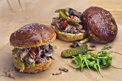 Pulled pork sandwiches. Two sandwiches with pulled pork, pickles and grilled mushrooms  in home made brioche buns. Sandwiches are placed on parchament paper, one Royalty Free Stock Photos