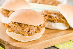 Pulled Pork Slider. Juicy slow roasted pork meat in a white bun Royalty Free Stock Image