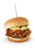 Pulled pork sliders. Bbq pulled pork sliders isolated on white background Stock Photography