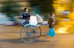 Pulled rickshaw Stock Images