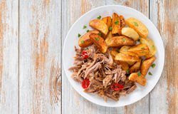 Pulled slow-cooked meat roasted in oven with fried potato royalty free stock photo