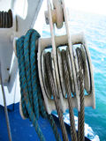 Pulley. Ships lifeboat pulley and steel rope Royalty Free Stock Photography