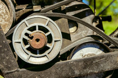 Pulley with belt drive of agricultural motorized machine Stock Image