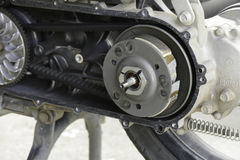 The pulley and belt of motorcycle. View inside of the pulley and belt of motorcycle Stock Photo