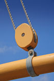 Pulley Block. Boom Pulley Block on 19th century fishing schooner Stock Images