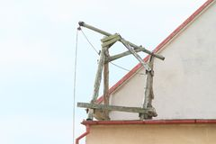 Pulley on construction royalty free stock image