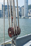 Pulley on deck Royalty Free Stock Photo
