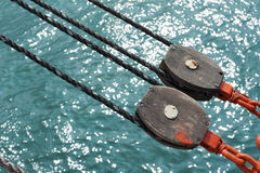 Pulley on Deck. With water background Royalty Free Stock Image
