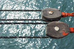 Pulley. On Deck with water background Stock Image