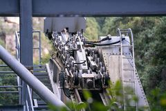 The pulley engine gears of ropeway on a cabins or funicular railway. royalty free stock images