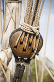 Pulley with rope Stock Photo