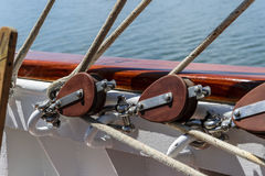 Pulley and ropes on a sailboat Royalty Free Stock Photos
