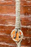 Pulley with ropes on sailing vessel. Pulley with ropes on a sailboat close-up Stock Photo