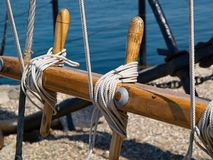 Sails ropes pulley sailing background image Stock Photography