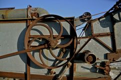 Pulley of a threshing machine Stock Photo