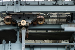 Pulley wheels on the overhead cable car Stock Photography