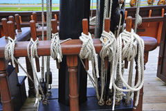 Pulleys of a boat Stock Photo
