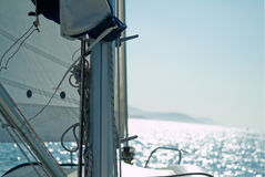 Pulleys and cords. Of a veil in a yatch Stock Images