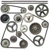 Pulleys. Old metal pulleys with belt stock image