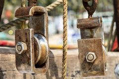 Pulleys for pulling out fishing nets in Goa royalty free stock images