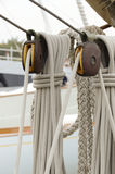 Pulleys and ropes of sailing. Old wooden pulleys and ropes of sailing royalty free stock image