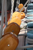 Pulleys, ropes and winches. Pulleys,ropes and winches on a modern sailing ship Royalty Free Stock Image