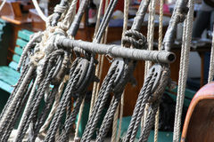 Pulleys on the vessel. Pulleys and rope on the vessel royalty free stock photography
