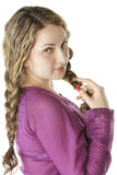 Pulling braids sideview Stock Images