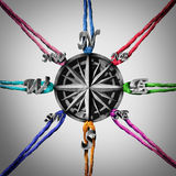 Pulling In Different Directions. Business concept as a compass being pulled by a group of ropes as a metaphor for opposing viewpoints and guidance confusion Stock Image