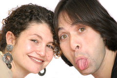 Pulling faces Stock Images