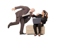 Pulling a guy. Businesswoman pulling a guy. couple on white background Royalty Free Stock Images
