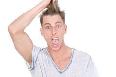 Pulling hair out in disbelief Stock Photography