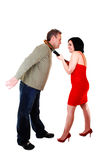 She is pulling her boyfriend. Royalty Free Stock Images